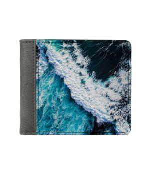 Необычный кошелек бумажник с принтом Океаническая волна, экокожа