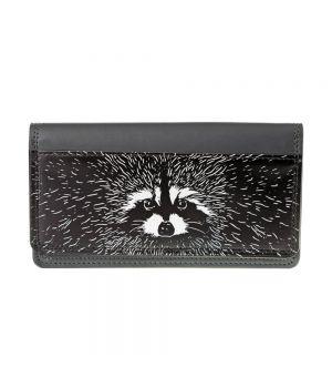 Необычный кошелек бумажник с принтом Енот прямоугольный, экокожа