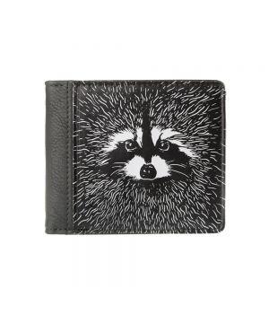 Необычный кошелек бумажник с принтом Енот квадратный, экокожа