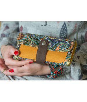 Большой дизайнерский кошелек женский с рисунком Египетский