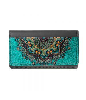 Необычный кошелек бумажник с принтом Золотые узоры, экокожа