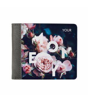 Необычный кошелек бумажник с принтом Розы, экокожа