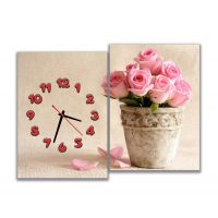 Модульные картины с часами Розы в горшке