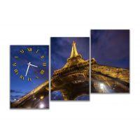 Модульные картины с часами Эйфелева башня, Париж