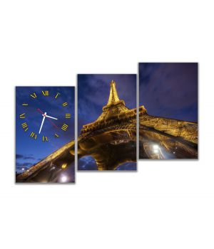 Модульные настенные часы Эйфелева башня Париж