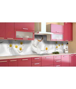 Наклейка виниловая кухонный фартук 65х250 см Ромашки и Кофе