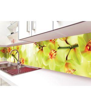 Наклейка вінілова кухонний фартух 65х250 см Орхідеї тигрові