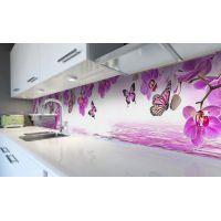 Наклейка виниловая кухонный фартук 60х250 см Орхидеи и Бабочки