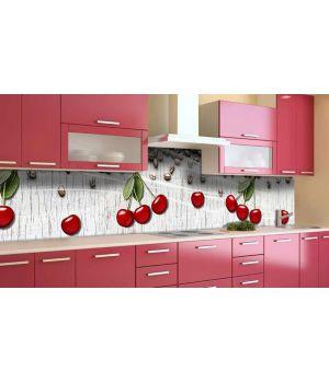 Наклейка виниловая кухонный фартук 60х300 см Вишни и Кофе