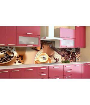 Наклейка вінілова кухонний фартух 65х250 см Кавова ідилія