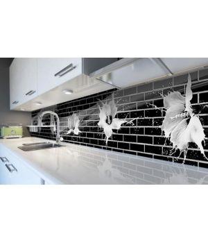 Наклейка виниловая кухонный фартук 65х250 см Черные кирпичи