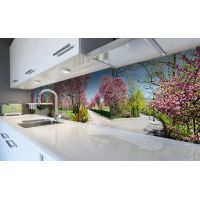 Наклейка виниловая кухонный фартук 60х250 см Цветущий сад