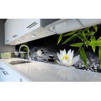 Наклейка вінілова кухонний фартух 60х300 см Лотоси та роса