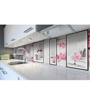 Наклейка виниловая кухонный фартук 60х300 см Белые кирпичи и Цветы