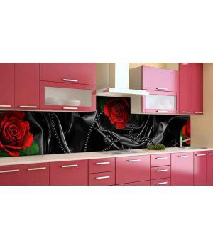 Наклейка виниловая кухонный фартук 65х250 см Черный шелк и красные розы