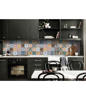 Кухонный фартук 65х250 см Орнамент 02 синий