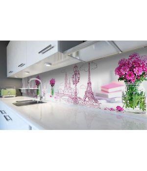 Наклейка вінілова кухонний фартух 60х250 см Мальований Париж