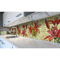 Наклейка вінілова кухонний фартух 60х250 см Вітраж лілії