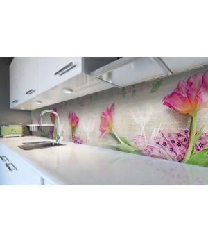 Наклейка виниловая кухонный фартук 60х300 см Пушистые Тюльпаны