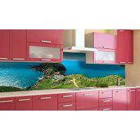 Наклейка вінілова кухонний фартух 60х300 см Зелене узбережжя