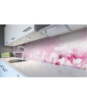Наклейка вінілова кухонний фартух 60х250 см Ніжні лілії
