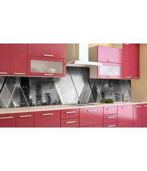 Наклейка виниловая кухонный фартук 65х250 см Зеркальный Город