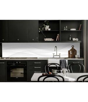 Наклейка кухонный фартук 65х250 см Белый шелк линии белый