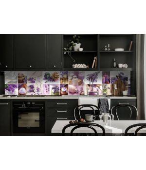 Наклейка вінілова кухонний фартух 65х250 см Лаванда мозаїка