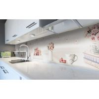 Наклейка вінілова кухонний фартух 60х300 см Рожеві макаруни