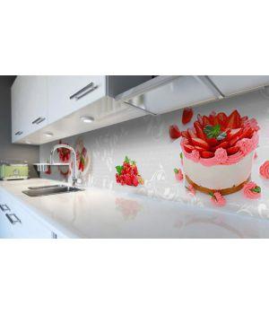 Наклейка виниловая кухонный фартук 60х300 см Клубничный пирог