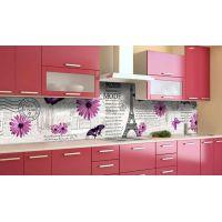 Наклейка вінілова кухонний фартух 60х300 см Париж та гербери