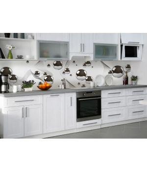 Наклейка кухонный фартук 60х300 см Стальные шары серый