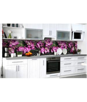 Наклейка вінілова кухонний фартух 60х250 см Фіолетові орхідеї