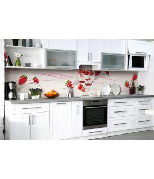 Наклейка вінілова кухонний фартух 60х250 см Полуничний десерт