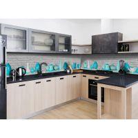 Наклейка виниловая кухонный фартук 60х250 см Голубые Кувшины