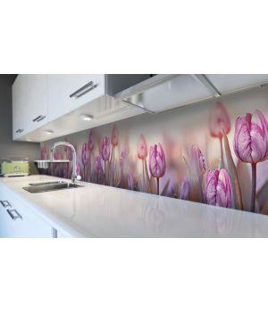 Наклейка вінілова кухонний фартух 60х250 см Ранок та тюльпани