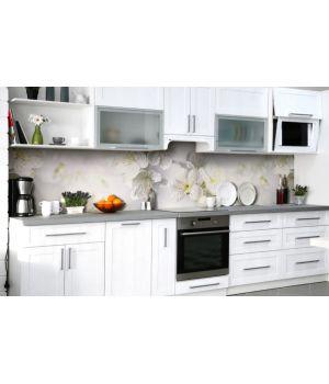 Наклейка вінілова кухонний фартух 65х250 см Білі Квіти Вишні