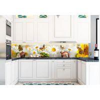 Наклейка Кухонный фартук 65х250 см Нежные ромашки желтый