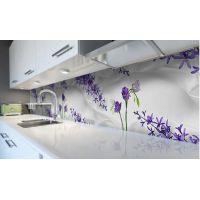 Наклейка виниловая кухонный фартук 60х250 см Шелк и Цветы