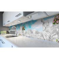 Наклейка виниловая кухонный фартук 60х250 см Мраморный город
