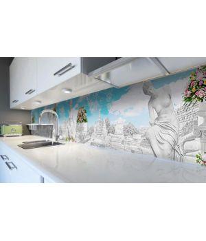 Наклейка вінілова кухонний фартух 60х250 см Мармурове місто