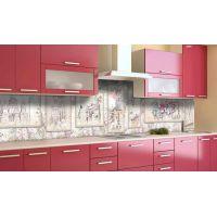 Наклейка вінілова кухонний фартух 60х300 см Вінтажна архітектура
