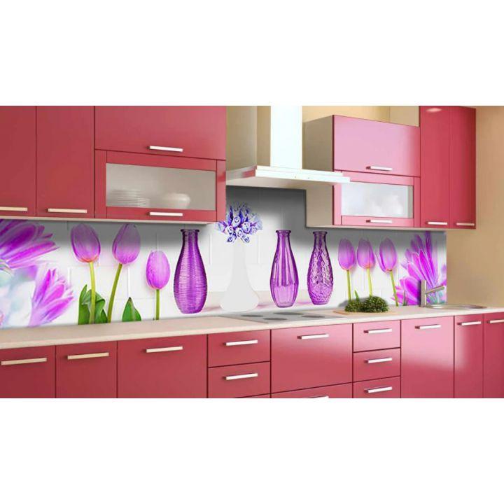Наклейка виниловая кухонный фартук 60х300 см Вазы и Тюльпаны