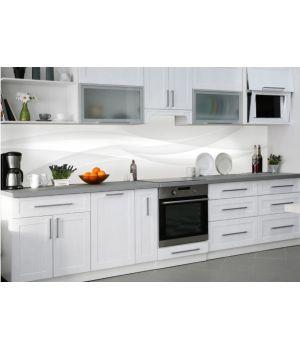 Наклейка кухонный фартук 60х300 см Белый шелк линии белый
