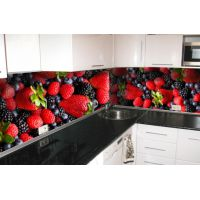 Кухонный фартук 65х250 см Лесная ягода красный
