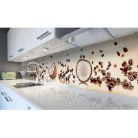 Наклейка виниловая кухонный фартук 60х250 см Кокосы и Кофе