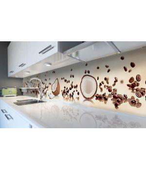 Наклейка вінілова кухонний фартух 60х250 см Кокоси та кава