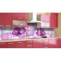 Наклейка виниловая кухонный фартук 60х250 см Букет Крокусов