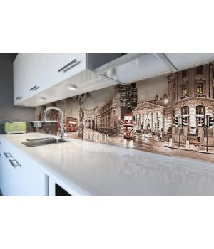 Наклейка кухонный фартук 60х300 см Лондонская площадь коричневый
