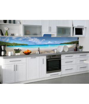 Наклейка кухонный фартук 60х300 см Тропический пляж Баунти разные цвета